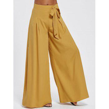 Drawstring High Waist Wide Leg Pants - EARTHY L