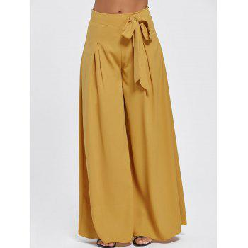 Drawstring High Waist Wide Leg Pants - L L