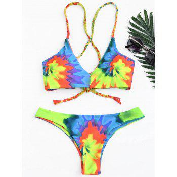 Tie Dye Braided Criss Cross Bikini Set - YELLOW L