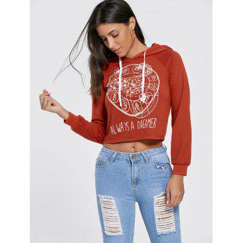 Raglan Sleeve Cropped Graphic Hoodie - BRICK RED BRICK RED