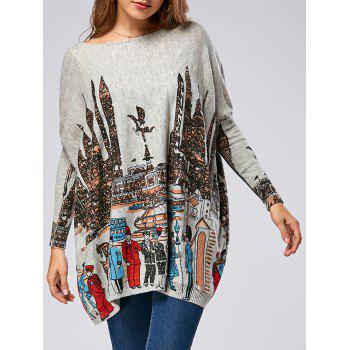 Pullover Cartoon City Pattern Drop Shoulder Ribbed Sweater