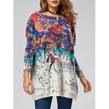 Cartoon Pattern Ombre Pullover Sweater