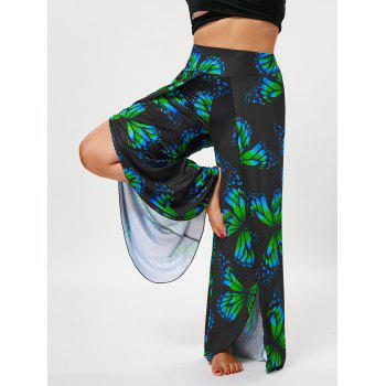 Plus Size Butterfly High Waist Palazzo Pants - COLORMIX XL