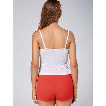 Stylish Solid Color Spaghetti Strap Blouse + High-Waisted Shorts Women's Twinset - RED/WHITE L
