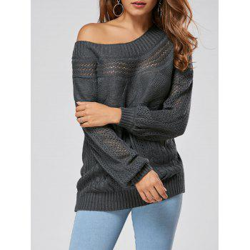 Hollow Out Cable Sweater - GRAY L