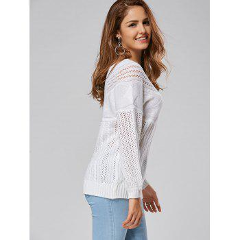 Hollow Out Cable Sweater - WHITE 2XL