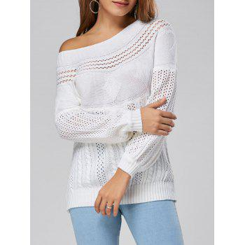 Hollow Out Cable Sweater - WHITE XL