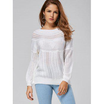 Hollow Out Cable Sweater - L L