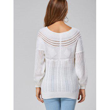 Hollow Out Cable Sweater - WHITE WHITE