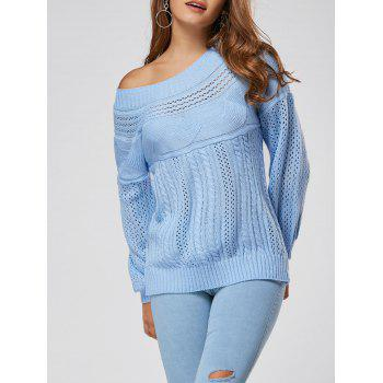 Hollow Out Cable Sweater - BLUE XL