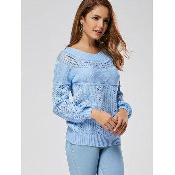 Hollow Out Cable Sweater - BLUE BLUE