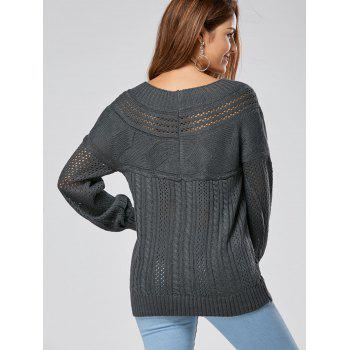 Hollow Out Cable Sweater - GRAY 2XL