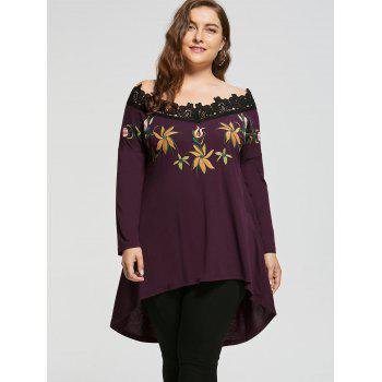 Broderie Plus Size Off Shoulder High Low Top - multicolorcolore XL