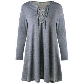 Lattice Long Sleeve Mini Shift Dress - GRAY S