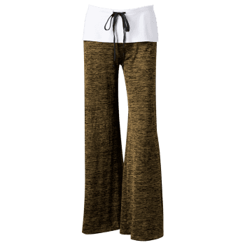 Foldover Heather Wide Leg Pants - BROWN BROWN