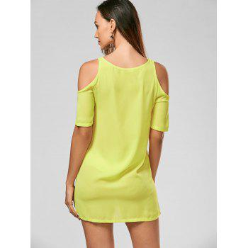 Cold Shoulder Mini Shift Chiffon Dress - YELLOW L