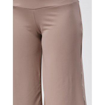 Wide Leg High Waisted Capri Pants - SKIN COLOR XL