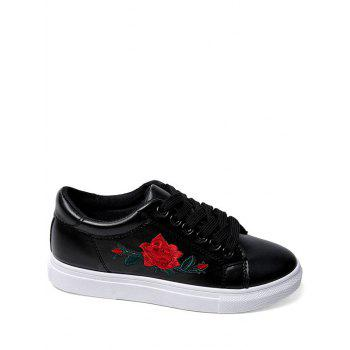 Faux Leather Embroidered Athletic Shoes - BLACK BLACK