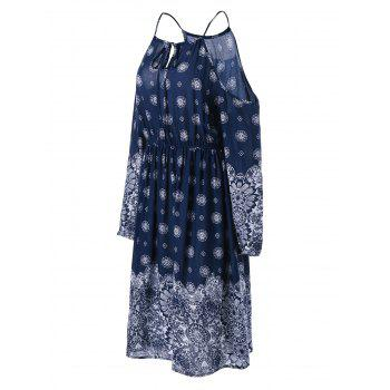 Plus Size Dew Shoulder Floral Bohemian Dress - PURPLISH BLUE PURPLISH BLUE