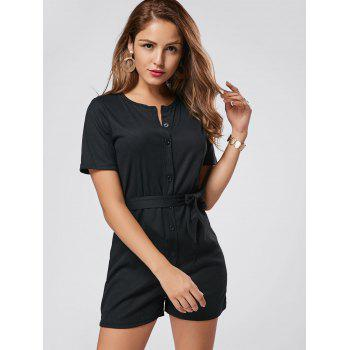 Button Down Belt Knit Romper - BLACK BLACK