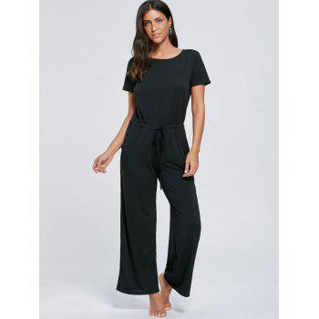 Short Sleeve Pocket Drawstring Jumpsuit - BLACK BLACK