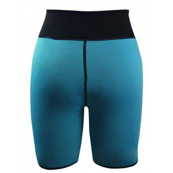 Color Block High Waist Neoprene Sport Shorts - MALACHITE GREEN MALACHITE GREEN