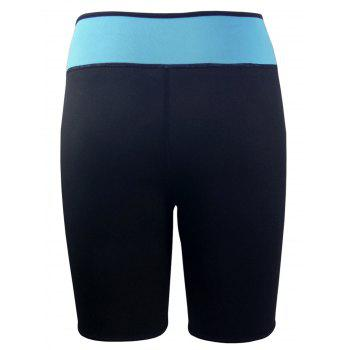 Color Block High Waist Neoprene Sport Shorts - BLACK BLACK