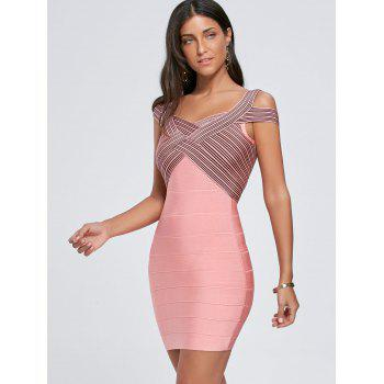 Striped Cap Sleeve Bodycon Bandage Dress - PINK PINK