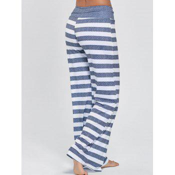 Drawstring Striped Wide Leg Pants - STRIPE STRIPE