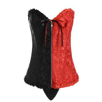 Plus Size Two Tone Lace Up Corset - BLACK AND RED BLACK/RED