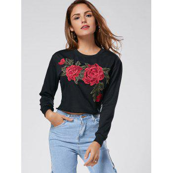 Crew Neck Floral Embroidered Cropped Sweatshirt - BLACK L