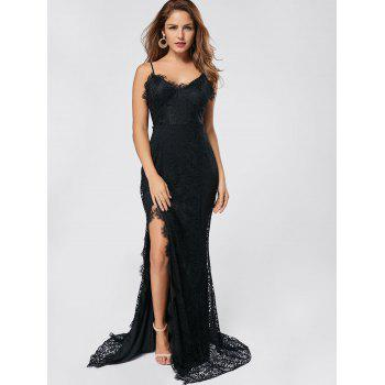 Slit Lace Maxi Slip Dress - BLACK BLACK