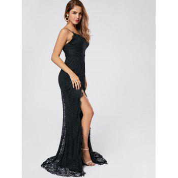 Slit Lace Maxi Slip Dress - Noir L
