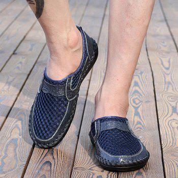 Hollow Out Faux Leather Panels Slip On Sneakers - BLUE 43