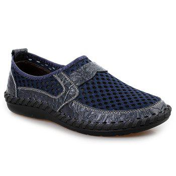 Hollow Out Faux Leather Panels Slip On Sneakers - BLUE BLUE