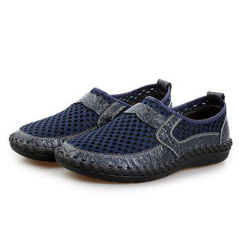 Hollow Out Faux Leather Panels Slip On Sneakers - BLUE 42
