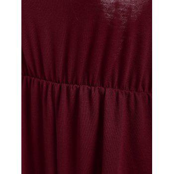 Tassel Open Back V Neck Romper - WINE RED WINE RED