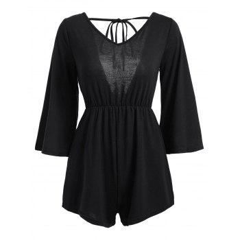 Tassel Open Back V Neck Romper - BLACK BLACK