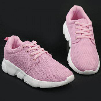Mesh Breathable Eyelets Athletic Shoes - PINK 37