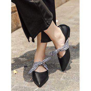 Faux Leather Tie Up Flat Shoes - BLACK 38