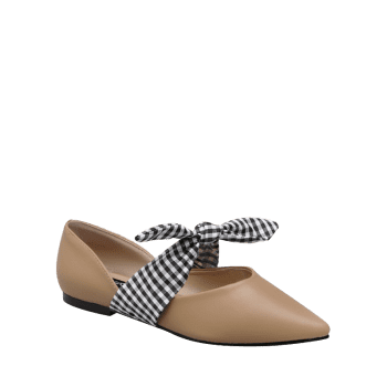 Faux Leather Tie Up Flat Shoes - APRICOT APRICOT