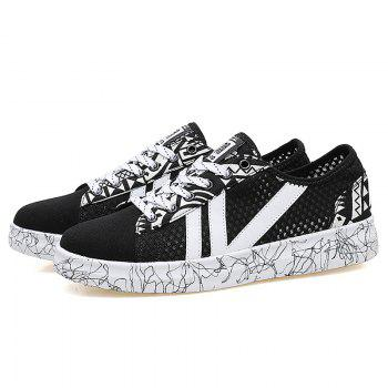 Graffitti Breathable Mesh Sneakers - BLACK BLACK