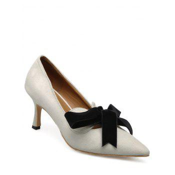 Bow Pointed Toe Mid Heel Pumps - APRICOT APRICOT