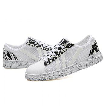 Graffitti Breathable Mesh Sneakers - WHITE WHITE