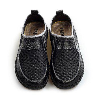Hollow Out Faux Leather Panels Slip On Sneakers - BLACK BLACK
