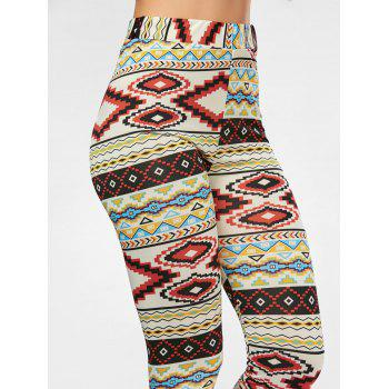 High Waisted Colorful Geometrical Print Leggings - COLORMIX M