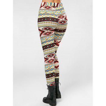 High Waisted Colorful Geometrical Print Leggings - COLORMIX S