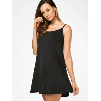 Spaghetti Strap Trapeze Dress - BLACK S