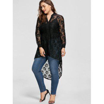 Long Sleeve High Low Lace Plus Size Top - BLACK 5XL
