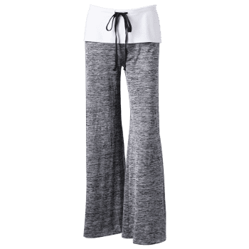 Foldover Heather Wide Leg Pants - GRAY S